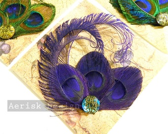 Royal Purple Peacock feather fascinator (5 fastener and 16 color options) RENA design for derby,mardi gras, picnic,teaparty hat,wedding