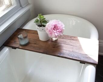 Rustic Wood Bathtub Tray - Walnut Bath Tub Caddy Wooden Bathtub Shelf Computer Desk Gaming Board Clawfoot Tub Tray Handmade
