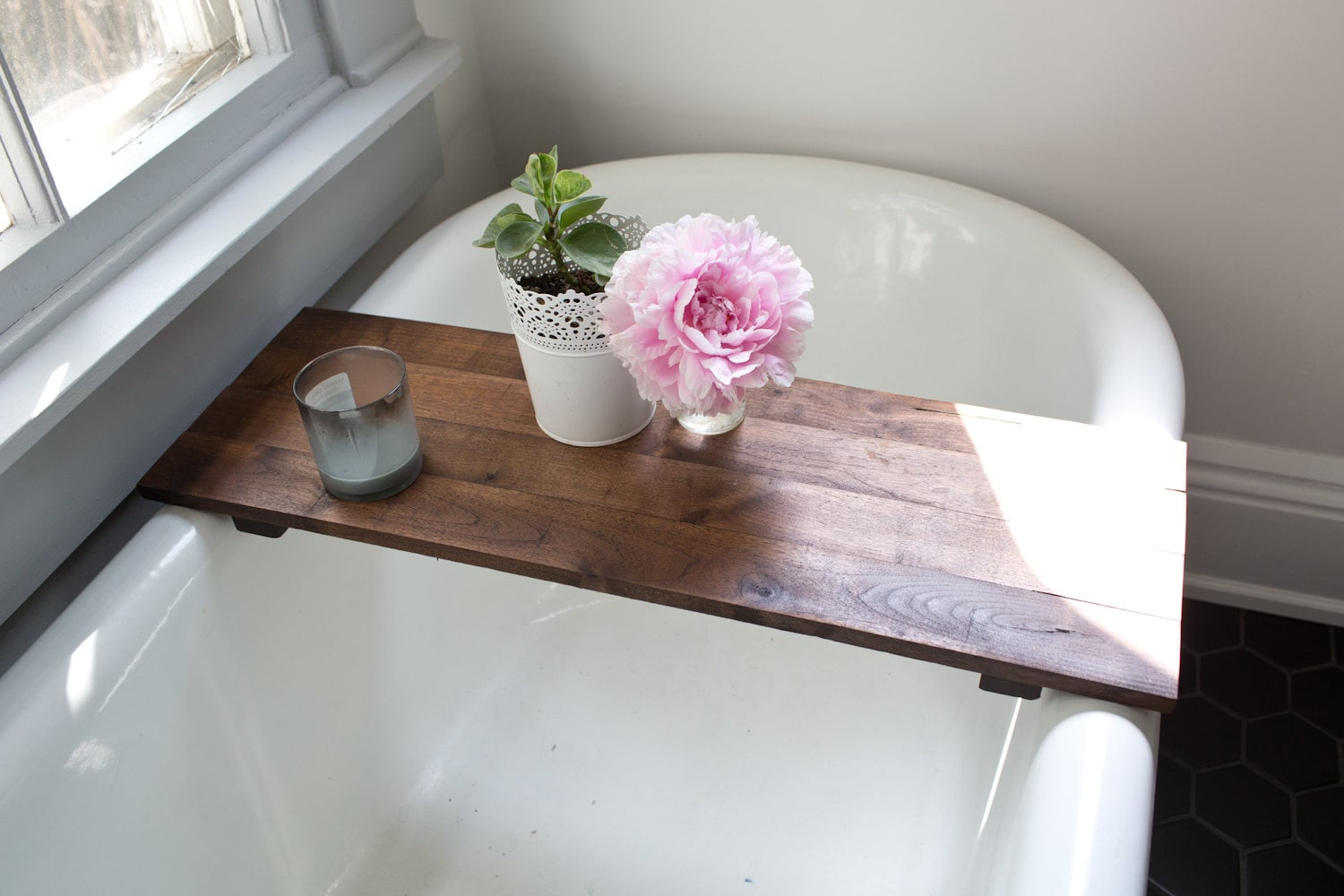 Rustic Wood Bathtub Tray Walnut Bath Tub Caddy Wooden