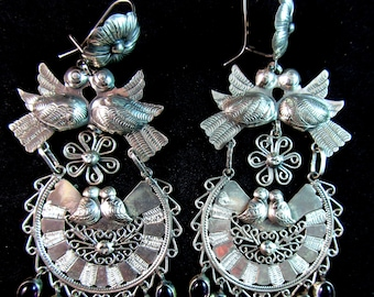 Doves of Love~with Amethyst Dangles~925~Mexican Filigree Wedding/Bridal  Earrings~Free Shipping