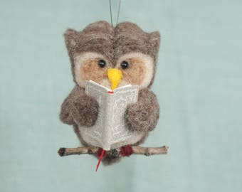 Needle Felted Owl Ornament - Reading