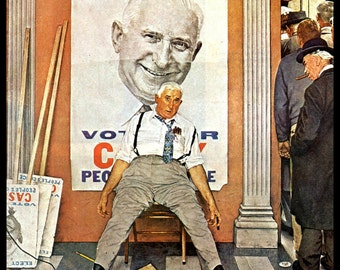 """Norman Rockwell Print, """"Elect Casey"""" Original Painting For Post Cover, November 8, 1958, Vintage Book Page Print"""
