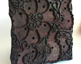 Vintage Floral Textile Print Block - India - Hand Carved - Wood - Wooden