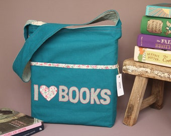 Children's library book tote bag: bright teal with pockets, comfy shoulder strap, extra strong (designed for kids who love to read!)