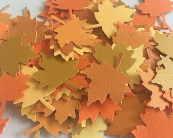 Autumn Fall Leaves Confetti - die cut paper punch table scatter colors of fall