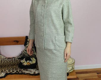 Lovely 1950s/1960s Grey Wool Two-Piece Jacket & Skirt Suit Set Size SMALL (As-Is)