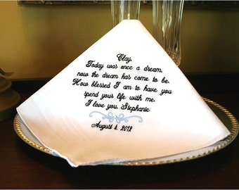 Groom Handkerchief -Hankie - Hanky - Today was ONCE A DREAM  - Gift for Groom from Bride - Bridal Wedding