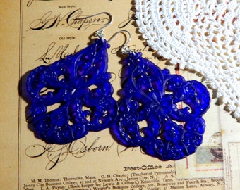 Cobalt Blue Vintage German Lucite Filigree Earrings with Sterling Silver Ear Wires - Boho Floral Filigree Earrings