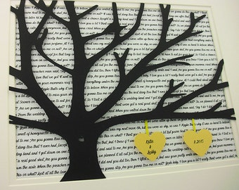 Framed Tree With Song Lyrics, 11x14 Wedding Vows, 3D Paper Tree Wedding Gift, Anniversary, Wedding Song Lyrics, Unframed Wedding Date