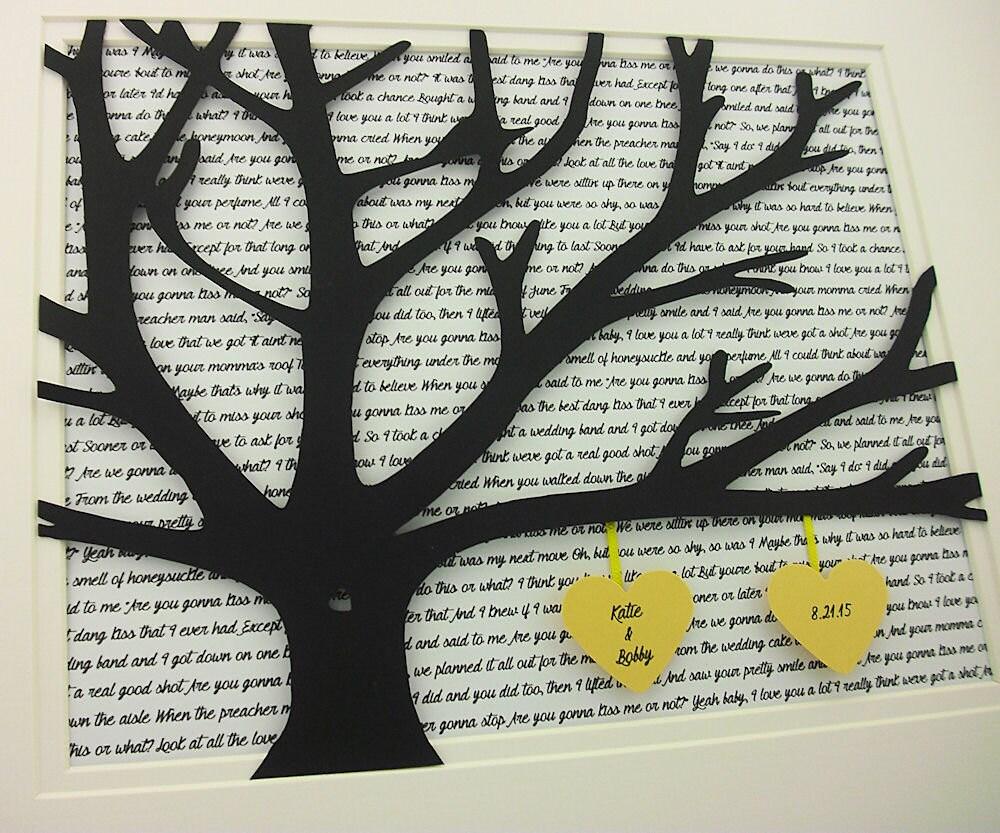 Árbol con letras de canciones 11 x 14 votos árbol de papel