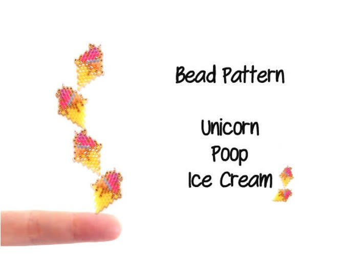 Unicorn Poop Ice Cream, Rainbow Dessert, Seed Bead Pattern, Brick Stitch or Peyote Stitch Beading