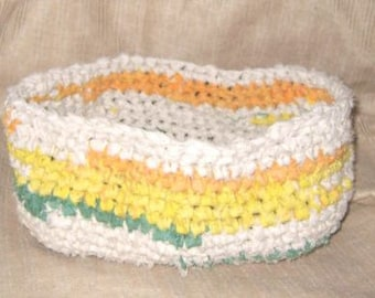 9 x 6 x 4 1/2 Hand Crochet Rectagular Freeform Basket White Yellow Orange Green With Raw Edges Number 112