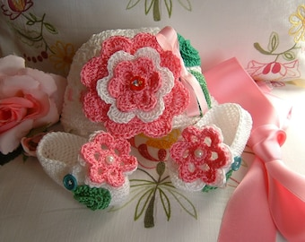 Hat and shoes handmade crocheted in white cotton with pink flowers applied. Crochet Baby Summer Fashion