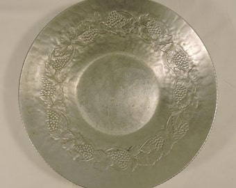 Hand Forged Hammered Aluminum Bowl Grapes Vintage