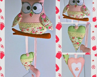 Pink Owl and Hearts Easter Ornaments, Spring Ornaments, Easter Decoration, Handmade Decoration, Easter Home and Holiday Decor