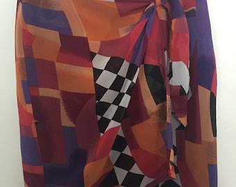 Abstract wrap skirt