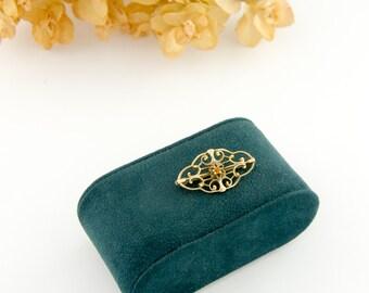 Antique 10k Gold Filigree Brooch | Topaz Brooch | Antique 10k Gold Brooch