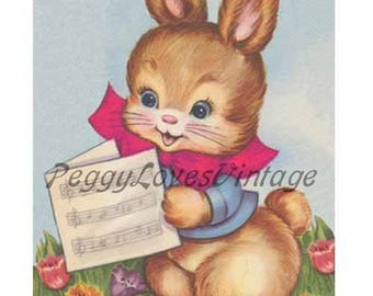 Easter 16 a Sweet Bunny with a Music Sheet a Digital Image from Vintage Greeting Cards - Instant Download