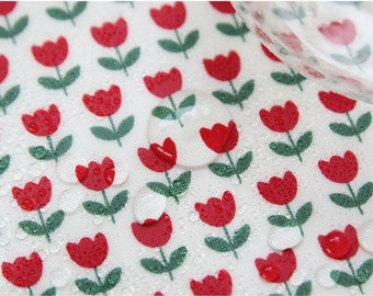 "Laminated Cotton Fabric - Red Tulip - 44"" Wide - By the Yard 55945"