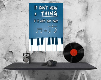 Don't mean a thing swing poster - funny quirky A3 music poster jive lindy hop boogie woogie