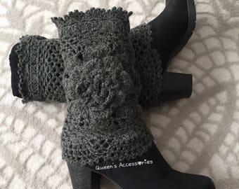 Best Selling Cuffs, Crochet Gray Boot Cuffs with Flower, Leg Warmers, Fall Winter Fashion Accessories