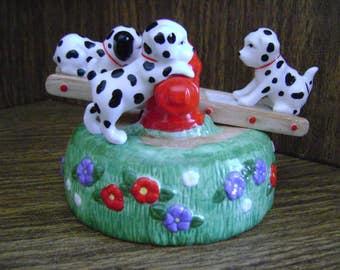 Dalmations music box, San Francisco Music Box Co, see saw music box, Music box tune Playmates, Dalmations & fire hydrant see saw, Sanyo