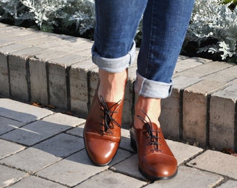 Gatsby - Womens Oxfords, Handmade Oxfords, Brown shoes, Oxfords for women, Vintage Shoes, Custom Shoes, FREE customization!!!