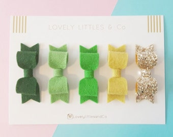 Green OMBRE Felt hair bow set - 100% pure wool - perfect for all ages
