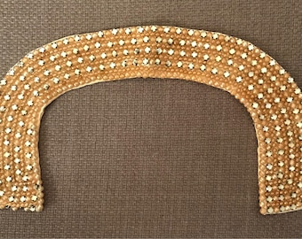 Vintage 1950s Faux Pearl and Rhinestone Beaded Collar