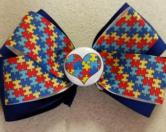 Autism Bow, puzzle ribbon, autism pin, blue, red, yellow, lanyards available as well, hand crafted, white, autism awareness, autism support