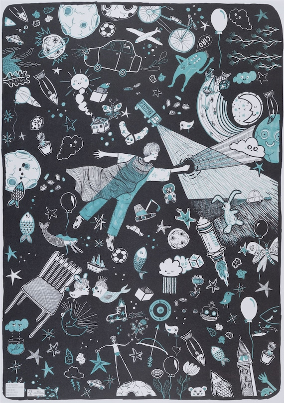 PIETRO VUOLE VOLARE. Kids wrapping paper. Black and turquoise. Wall art. Gift wrap for little brother, little son, for artists, for Peter