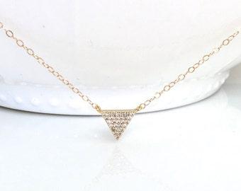 Gold cz Triangle Necklace, Triangle CZ Necklace, Pave Triangle CZ Necklace, Silver CZ Triangle Necklace, Bohemian Jewelry