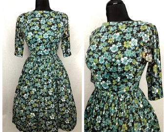 Vintage 1950's Blue Green Black Floral Print Rayon Jersey Fit and Flare Day Dress by Parkshire Original - size Small Medium