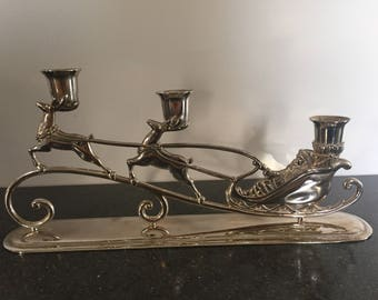 Vintage Christmas deer with Santa candlestick holder for three tapers holiday decorating