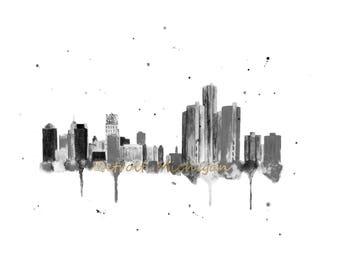 Detroit Skyline Art - Detroit Canvas Print - Detroit Skyline Painting - Detroit Wall Art - Cityscape - Detroit Art - Detroit Themed Gift
