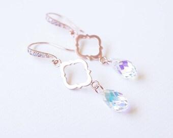 Earrings, Rose Gold Earrings, Crystal Earrings, Dangle Earrings, Drop Earrings, Swarovski Earrings, Bridesmaid Earrings, Bridesmaid Jewelry