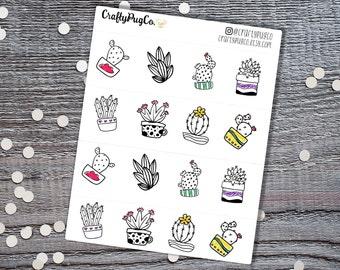 Cactus Doodles // Hand Drawn Doodle // Planner Stickers