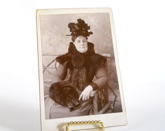 Vintage Cabinet Card Photograph • Lady in Fur Trimmed Coat • 1800s Photo Fur Collar Muff Hat