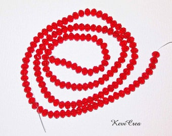 50 x 3x4mm Siam red glass faceted beads