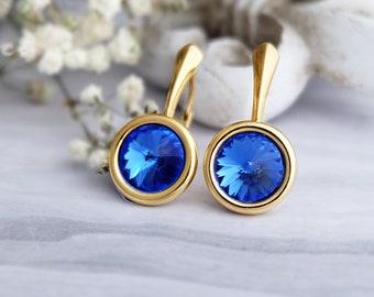 Sapphire earrings, Swarovski earrings, Dainty earrings, Sterling Silver earrings, Rose gold earrings, Small everyday blue crystal earrings