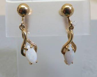 1970s Real Opal Clip Earrings, Vintage Opal Clip On Earrings
