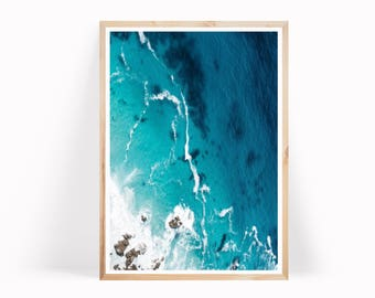 Blue Ocean Print, Ocean Wave Photography, Coastal Wall Decor, Beach Decor, Modern Minimalist, Ocean Poster, Large Wall Art, Ocean Water