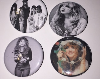 Set of 4 Fleetwood Mac Buttons sized at 1.25 inches - Stevie Nicks - Dreams - Rumours