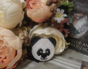 "Beaded brooch ""Panda"""