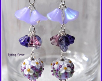 Lavender Earrings,Flower Earrings,Dangle earrings,Spring Jewelry,Woodland Earrings,Lavender White and Purple - SPRING FEVER