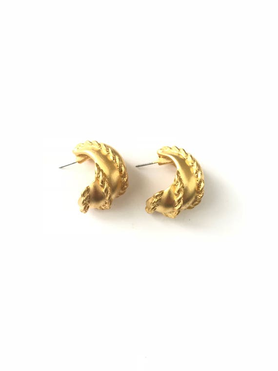 Vintage Matte Gold Plated Braided Twist Demi Hoop Earring by Etsy