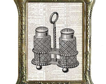 SALT PEPPER Cruet Set art print Edwardian Victorian kitchen dining wall decor on upcycled vintage dictionary book page black white 5x7,8x10
