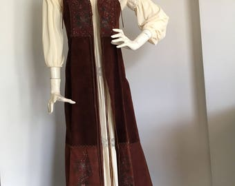 CHAR 1970s 1960s Painted leather whip stitch Maxi Vest
