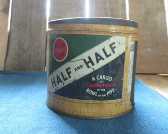 Burley and Bright Half and Half Tobacco Tin, Round, Vintage, Rustic