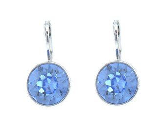 Baby Crystal Bella Mini Rhodium Plated  Round Light Sapphire Earrings with SWAROVSKI Crystals